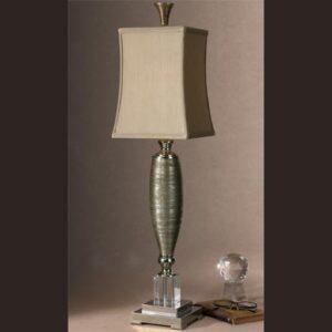 Table Lamp - Chrome & Glass Base - Bronze Silk Square Shade