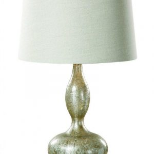 Table Lamp - Smoked Mercury Glass Base - Beige Linen Shade