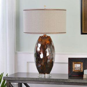 Table Lamp - Mercury Glass & Bronze Base - Oatmeal Linen Round Shade