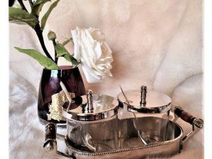 Condiment Stand - Nickel Finished Metal - 2 Glass Jars - Bone Handles