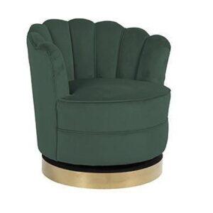 Occasional Swivel Chair - Curved Finger Back - Brushed Brass Bass - Green Velvet