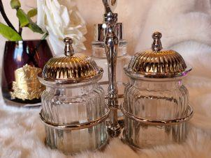 Condiment Stand - Nickel Finished Metal - 2 Glass Jars - Oil Bottle