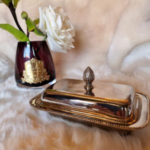 Lidded Butter Dish - Nickel Finished Metal - Glass Insert