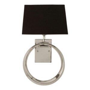 Wall Light - Chrome Ring Design - Black Shade