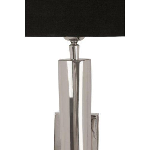 Wall Light - Curved Highly Polished Chrome Design - Black Shade