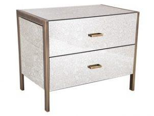 Large Bedside - Champagne Edged 2 Drawer - Antique Mirrored Finish