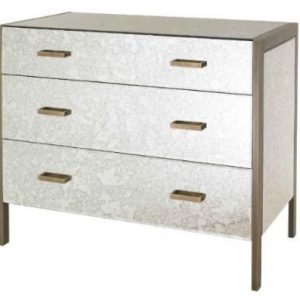 Chest Of Drawers - Champagne Edged 3 Drawer - Antique Mirrored Finish