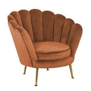 Easy Chair - Finger Back Design - Brass Legs - Rust Velvet