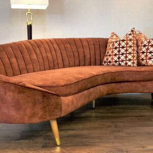 3 Seater Curved Sofa - Deep Ribbed - Vintage Burnt Orange Velvet