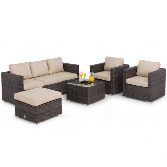 5 Seat Garden Sofa Set - Ice Bucket Coffee Table - Brown Polyweave