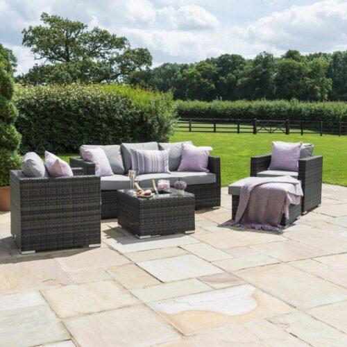 5 Seat Garden Sofa Set - Ice Bucket Coffee Table - Grey Polyweave