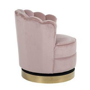 Occasional Swivel Chair - Curved Finger Back - Brushed Brass Bass - Pink Velvet