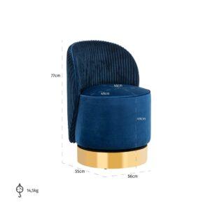 Occasional Swivel Chair - Curved back - Brushed Brass Bass - Navy Velvet