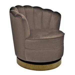 Occasional Swivel Chair - Curved Finger Back - Brushed Brass Bass - Stone Velvet