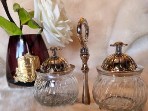 Condiment Stand - Nickel Finished Metal - 2 Glass Jars