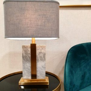Table Lamp - Brushed Brass & Marble Base - Grey Linen Shade