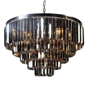5 Tiered Chandelier - Smoked Crystal - Polished Chrome Finish - LARGE