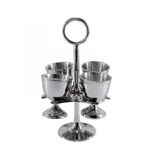 Egg Cup Holder Stand - Nickel Finished Metal - 4 Egg Cups