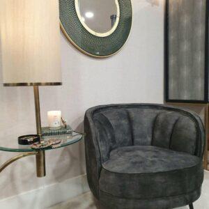 Floor Lamp - Antique Brass Base - Round Glass Shelf - Oatmeal Linen Shade