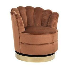 Occasional Swivel Chair - Curved Finger Back - Brushed Brass Bass - Rust Velvet