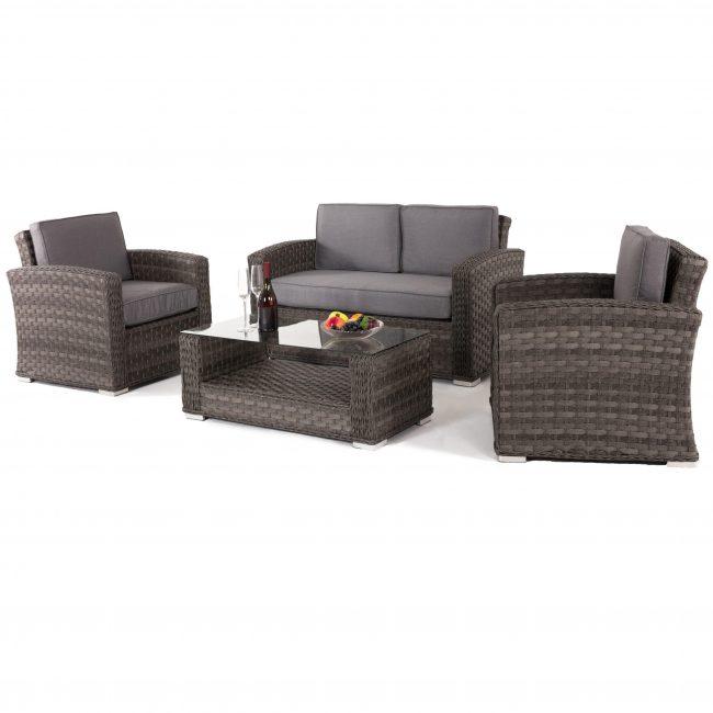 Garden Sofa Set - 4 Piece - 4 Seat - Grey Cushions - Grey Poly Weave
