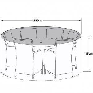 6 Seat Outdoor Dining Set Cover - All Weather - Round