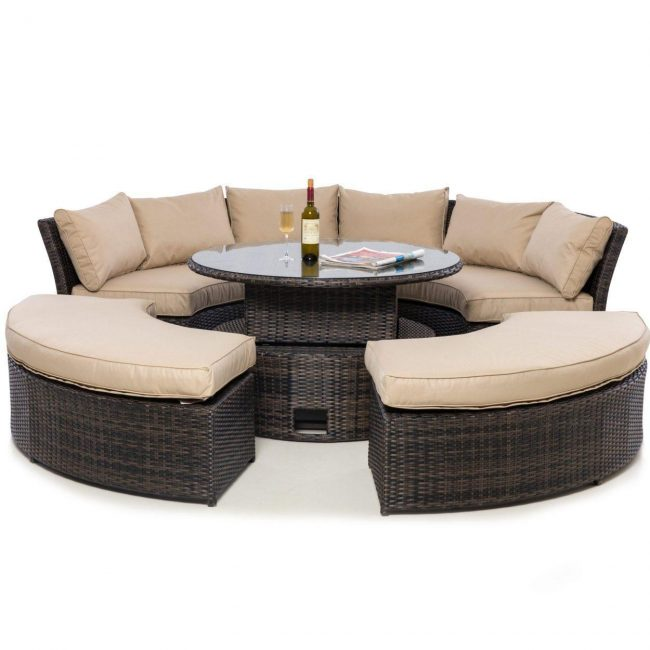 Garden Curved Sofa Set - Rising Table - Taupe Cushions - Brown Poly Weave