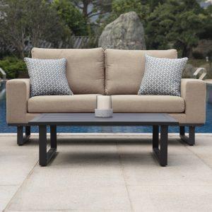 Sofa & Chair Garden Sofa Set - Coffee Table - All Weather Garden Fabric - TAUPE