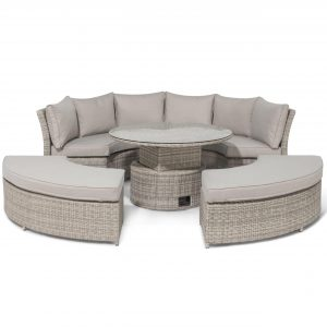 Garden Curved Sofa Set - Rising Table - Grey Cushions - Grey Round Poly Weave