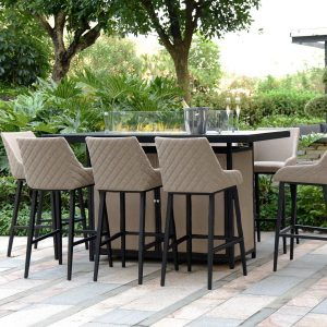 8 Seat Rectangular Fire Pit Garden Bar Dining Set - All Weather Taupe Fabric