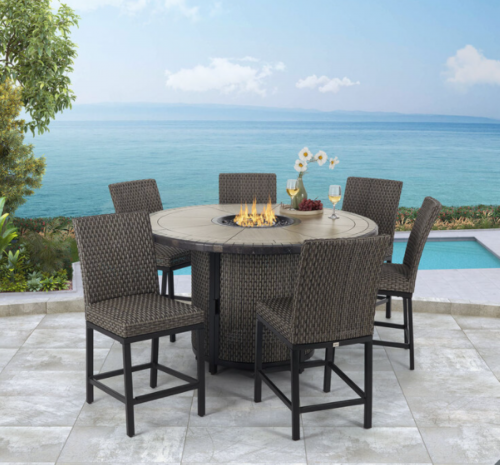 6 Seat Round Fire Pit Garden Bar Dining Set - All Weather Grey Fabric