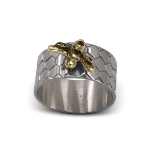 Napkin Rings - Silver Plated - Beehive Design - Set Of 4