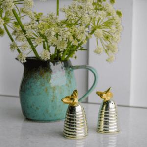 Cruet Set - Silver Plated Queen Bee Beehive Salt & Pepper Set