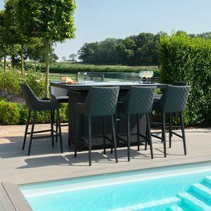 8 Seat Rectangular Fire Pit Garden Bar Dining Set - All Weather Charcoal Fabric