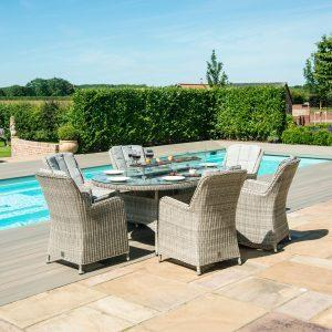 6 Seat Oval Fire Pit Garden Dining Set - Grey Polyweave - Venice Chairs