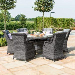 6 Seat Round Garden Table Set - Umbrella & Base - Grey Polyrattan