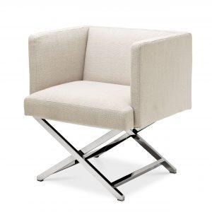 Occasional Chair - Chrome Frame Finish - Natural Linen Blend Finish