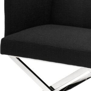 Occasional Chair - Chrome Frame Finish - Black Linen Blend Finish