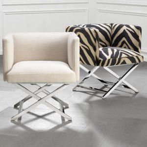 Occasional Chair - Chrome Frame Finish - Zebra Design Finish