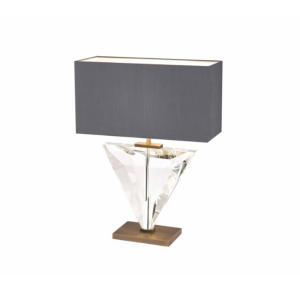 Table Lamp - Crystal & Bronze Base - Grey Oblong Shade