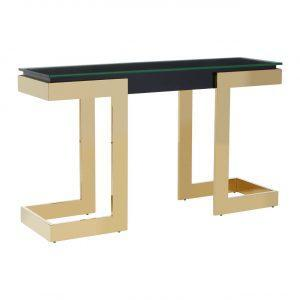 Console Table - Black Glass Top - Gold Frame Surround