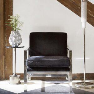 Occasional Chair - Chrome Frame Finish - Black Velvet