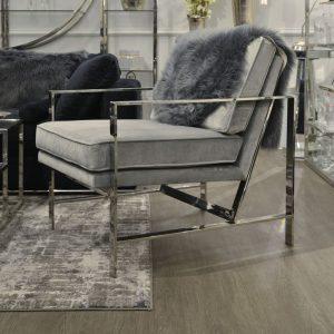 Occasional Chair - Chrome Frame Finish - Grey Velvet