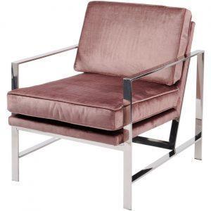 Occasional Chair - Chrome Frame Finish - Purple Velvet