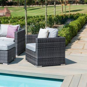 4 Seat Garden Sofa Set - Ice Bucket Coffee Table - Grey Polyweave