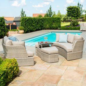 Daybed Sofa Set - Rising Table - Grey Cushions - Grey Polyrattan