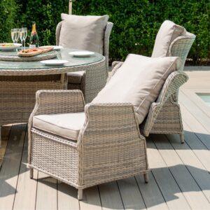 6 Seat Reclining Garden Table Set - Umbrella & Base - Grey Polyrattan