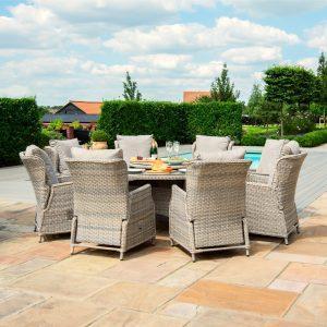 8 Seat Reclining Garden Table Set - Umbrella & Base - Grey Polyrattan