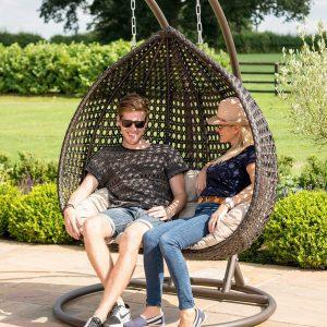 Hanging Garden Chair - Onion Design - Brown Poly Weave