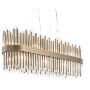Oblong Chandelier - Crystal - Polished Brass Finish - LARGE